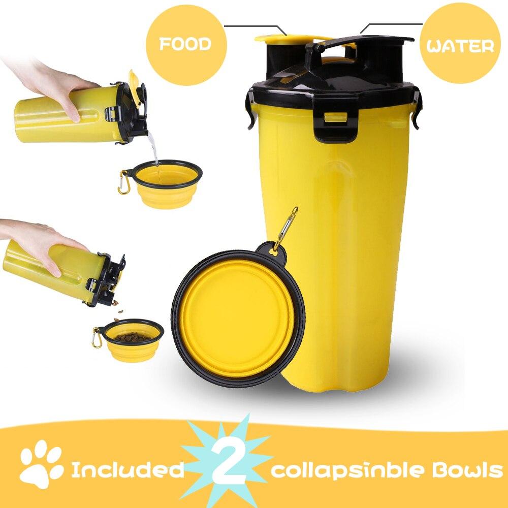 Dosificador de agua para perro, botella de agua para mascota de viaje con tazón 2 en 1, taza para perro portátil para aperitivos de 250g y contenedores de agua de 350 ml/12 oz