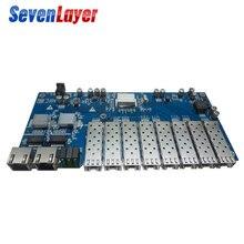 Гигабитный волоконно оптический коммутатор Ethernet 8 SFP solt 2 RJ45 PCBA board Media Converter 10/100/1000M utp 8 Port 1,25G SFP