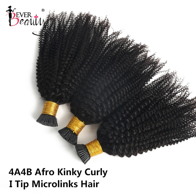 Afro Kinky Curly I Tip Microlinks Hair Extensions 100% Human Hair Virgin Weave Bundles Brazilian I T
