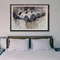 Peinture classique de voiture de course T190  voiture blanche  89  affiche en soie personnalisee  decoration murale  cadeau de noel