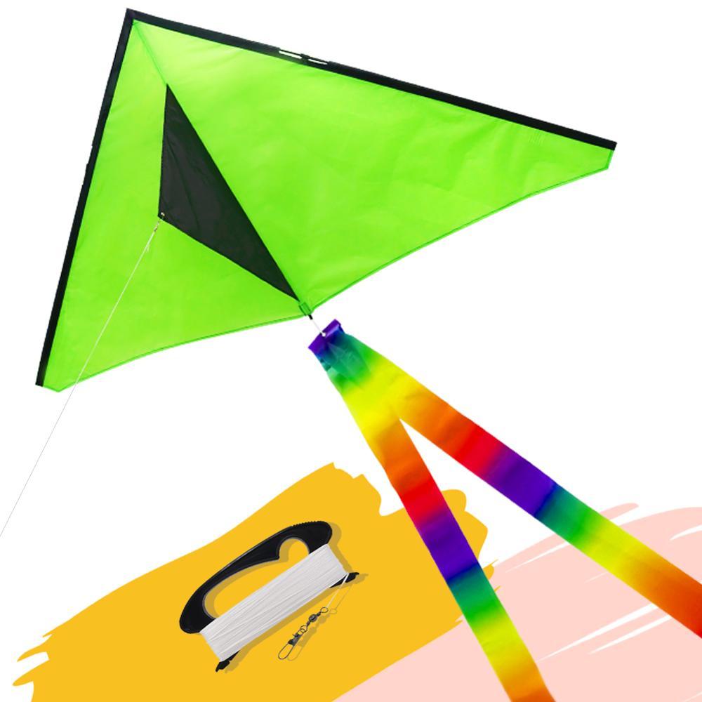 emmakites Delta Kite 5ft Single Line Kite with Kite Line String Tail for Beginner Kids Adults