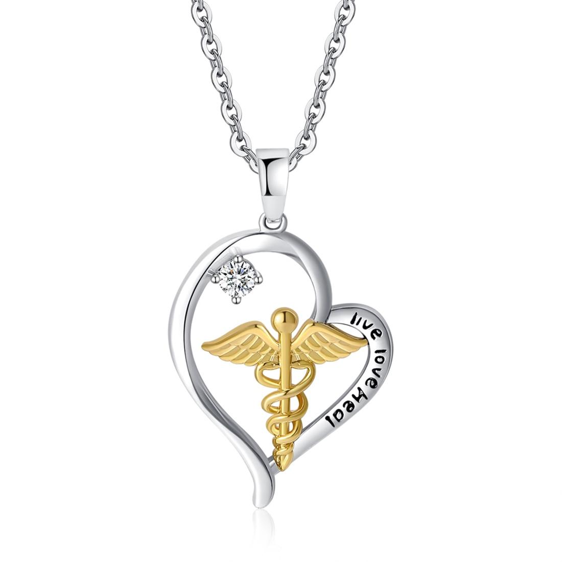 Caduceus Heart Necklace Nurse Necklace Jewelry Doctor RN Medical Student Graduation Gift Live Love Heal Angel Nursing Pendant