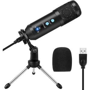 Condenser Microphone Stand Set USB Microphone for Computer Use for Games, Podcasts, Chats, Youtube Videos Plug and Play