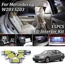 15Pcs White Canbus Error Gratis Led Auto Interieur Licht Kit Voor Mercedes Benz C Klasse S203 W203 C230 C240 c280 C320 C32 Amg C55 Amg