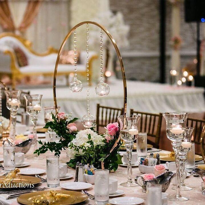 10 Uds. Arco de anillo redondo MESA DE BODA centros de mesa accesorios metálicos artificiales estante camino de plomo Floral Stand decoración de fondo