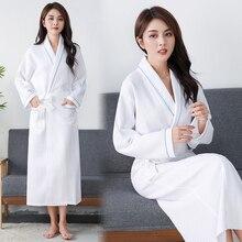 Waffle Robe Women 100% Cotton Bath Robe Ladies water sucking Nightrobe Sleepwear Female Casual Home Bathrobe Hotel Robe халат