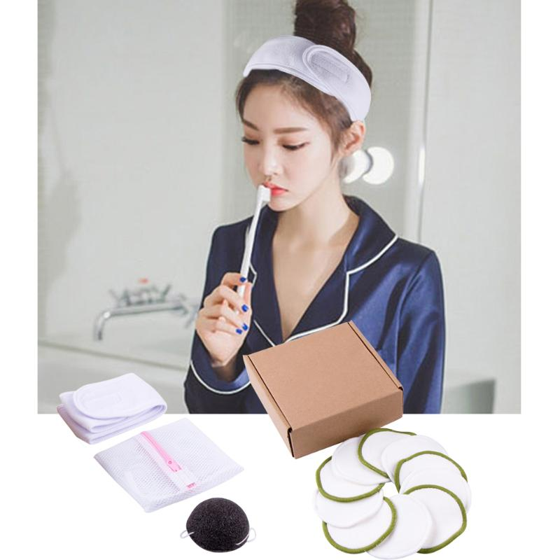 Limpiador de belleza esponja de maquillaje 10 Uds. Portabilidad de fibra reutilizable portátil cómodo limpiador Facial toallas