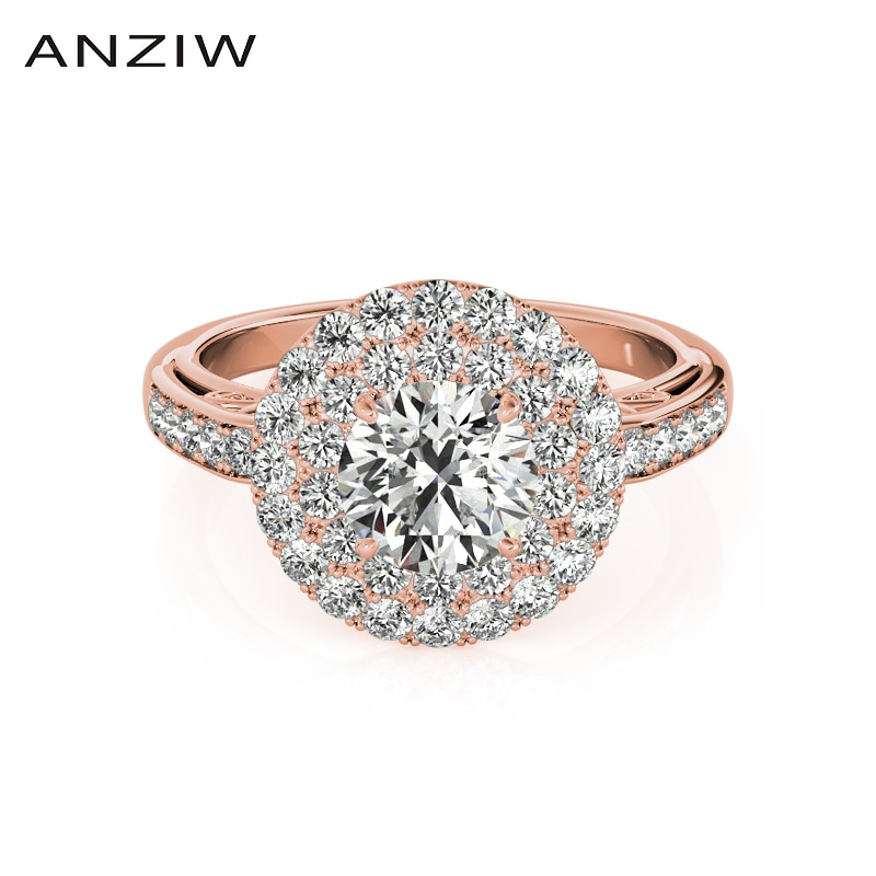 Anillos de Compromiso de boda de Color oro rosa de plata de ley 925 a la moda, anillos de corte redondo de 1 quilate para mujer, regalo de joyería de princesa
