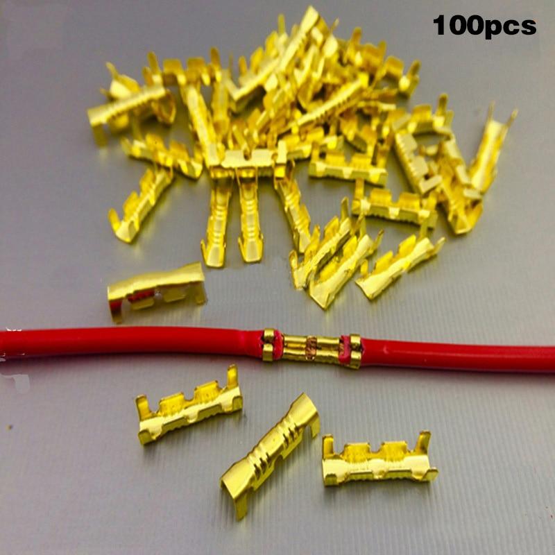 100 pces dobro u-tipo linha pino cabo conector cobre 0.5-1.5mm fio quadrado terminal sno88