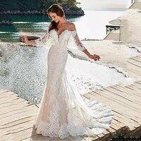 mermaid boho wedding dress boho 2020 off the shoulder tulle appliques lace wedding gowns backless bride dress vestido novia