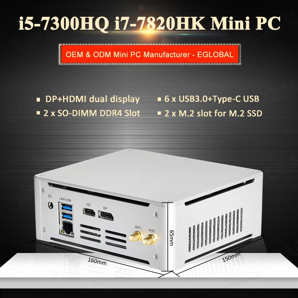 Mini PC System Unit Intel i7-7820HK i5-7300HQ 2*DDR4 2*M.2 NVME Gaming Computer Office PC HTPC 4K HDMI DP Type-C AC WiFi