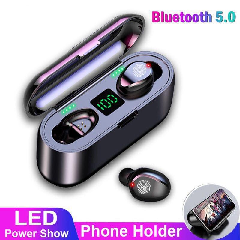 TWS V5.0 Bluetooth Headset Wireless Sport Wireless Earphones Earphone with LED 2000 mAh Charging Bin Phone Holder