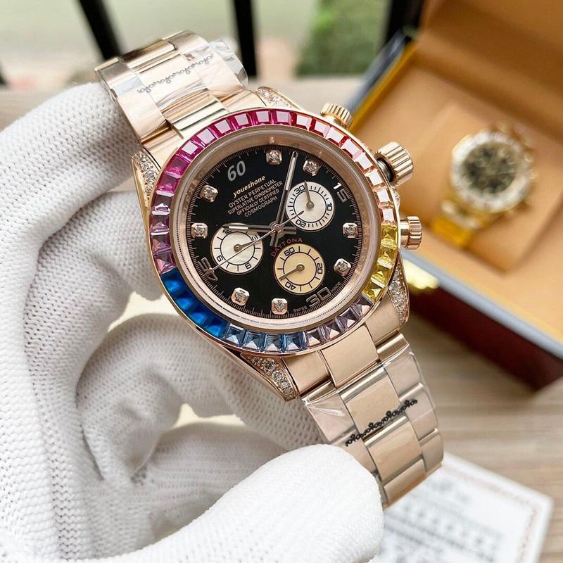 Reloj para hombre, reloj de alta calidad con diamante mecánico automático de lujo superior, reloj impermeable de lujo a la moda