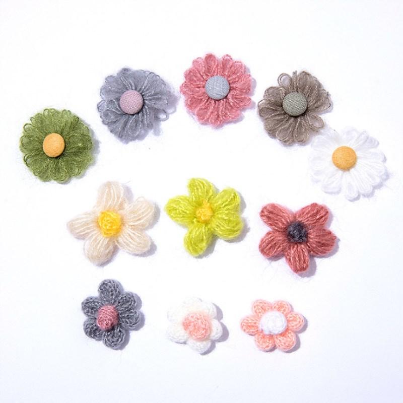 10 pzas/unids/lote parches de cabeza de flor de lana accesorios para manualidades para niños ropa de dibujos animados accesorios de clip de pelo para niños
