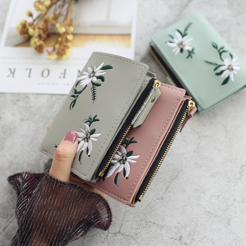 New Women's Wallets Print Flower Short Wallet For Woman Zipper Mini Coin Purse Ladies Small Wallet F
