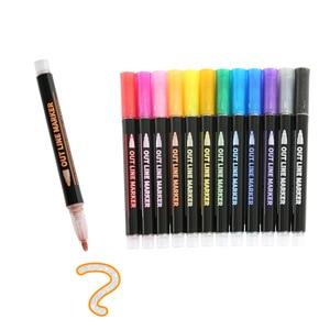 12 Color Double Line Pen Color Hand Account Pen Dream Metal Outline Pen Hand-painted Highlighter Marker Pen