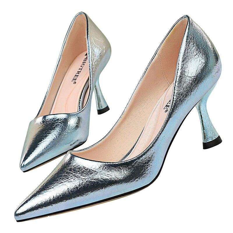 2020 Women 7cm High Heels Pumps Lady Plus Size Fetish Wedding Bridal Kitten Low Heels Scarpins Stripper Party Prom Quality Shoes