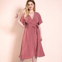 plus size dress elegant womens dress solid slit dress wave point belted rregular skirts short sleeve summer dresses for women