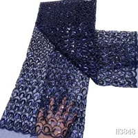 royal blue handmade beads african lace fabric 2020 high quality nigerian lace fabric embroidered sequins net lace for dress