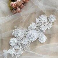 1pair 3d organza lace applique bridal veil lace trims lace collar wedding dress accessories sewing on floral patches appliques