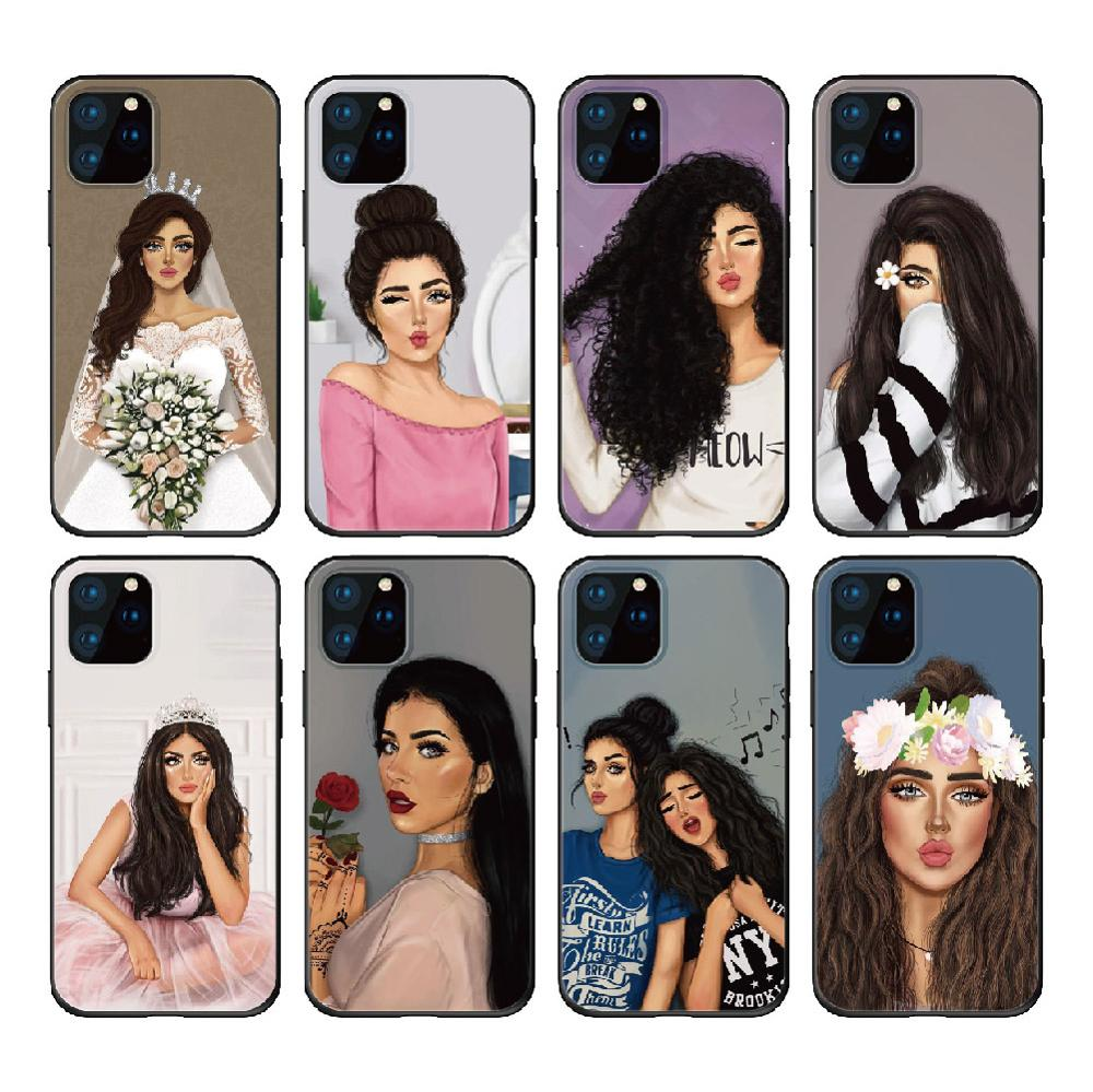 Funda de silicona suave Hijab árabe chicas mujeres musulmana islámica para iPhone 11 Pro Max X XS XR Max 7 8 7Plus 8Plus 6S SE