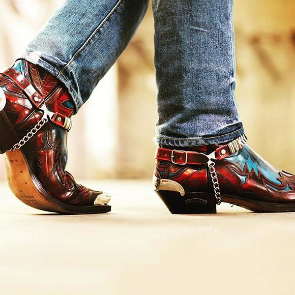 جديد الرجال بولي Color اللون مطابقة تنقش قبعات رعاة البقر الغربية مقاومة للاهتراء الرجال الأحذية الجلدية أشار تو موضة أحذية الموضة الاتجاه