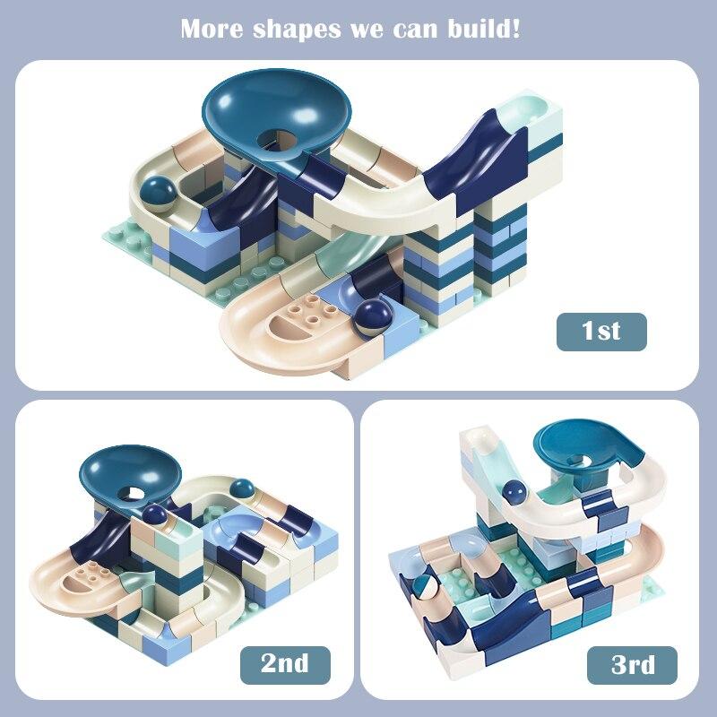 New 80 Pcs Marble Race Run Building Block Compatible Major Brands Duploed Constructor Bricks Educational Toys for Children Kids