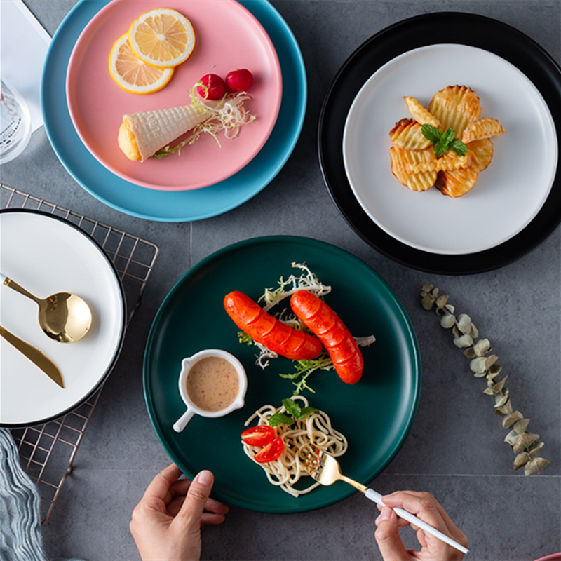 Plato de tarta casera nórdico creativo plato de cena plato de Pasta de postre de carne occidental bandeja de porcelana de disco de desayuno de cubiertos de China