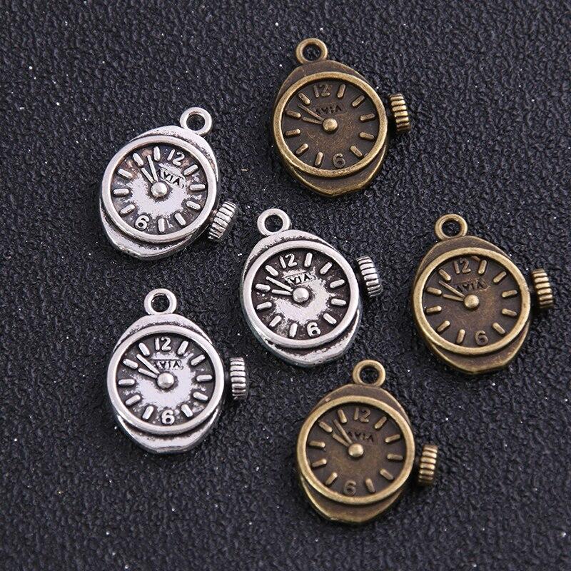 6Pcs18*20 Mm Vintage Metal Steampunk Horloges Klok Tandwielen Charms Twee Kleur Zinklegering Kleine Horloges Klok Charms