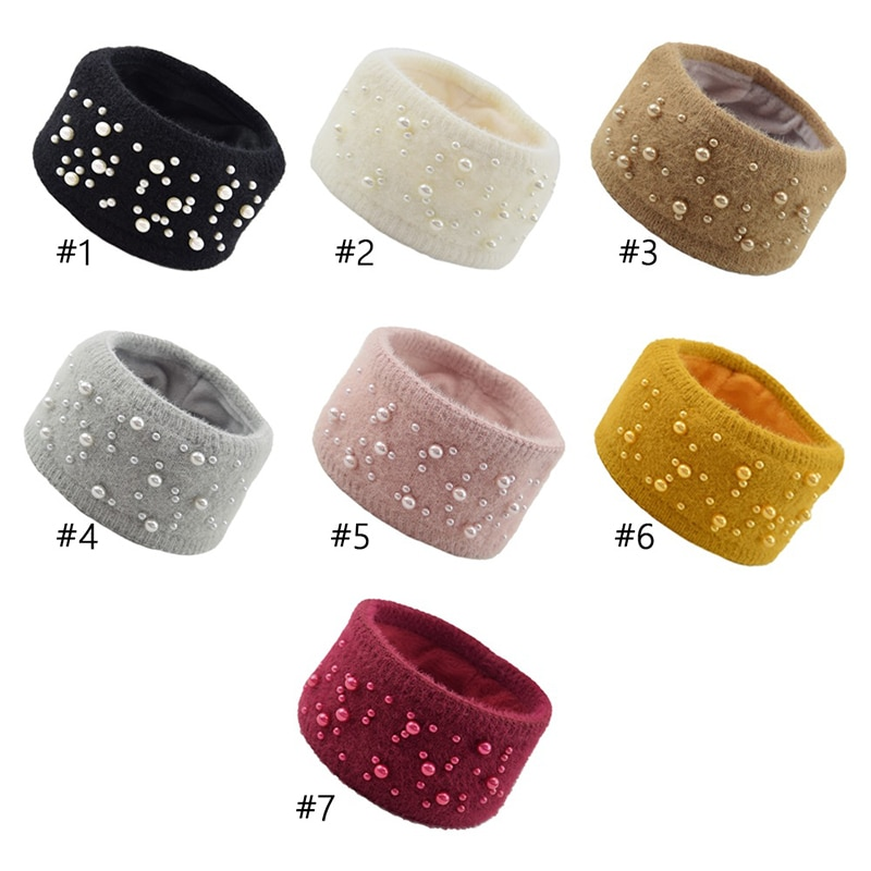 1 ud. De gorro de invierno con orejas de Color liso, diadema de perlas, imitación de pelo de visón, acrílico, tejido de lana suave, diadema ancha para mujer