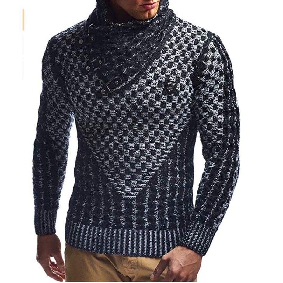 ZOGAA, suéteres para hombre, suéteres de cuello alto abrigados, suéter de punto informal para hombre, suéter de invierno Delgado, jerséis de marca para hombre