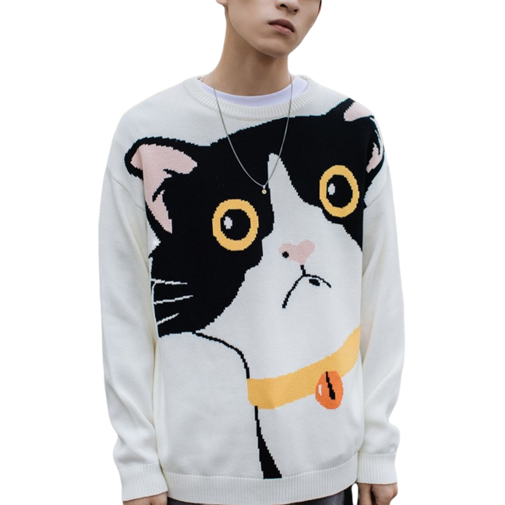 Funny Cartoon Cat Sweater Pullover Jumper Men Printed Knitted Sweater Hip Hop Harajuku Streetwear Casual Male Sweater