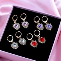 new trendy transparent heart crystal charms earring for women one row rhinestones surrounded love heart drop earring jewelry