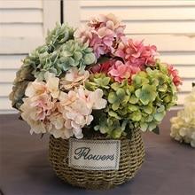 6 Branch Artificial Silk hydrangea Flower Bouquet For Home Wedding Decoration Cheap Vase Table Arrangement Fake Flowers