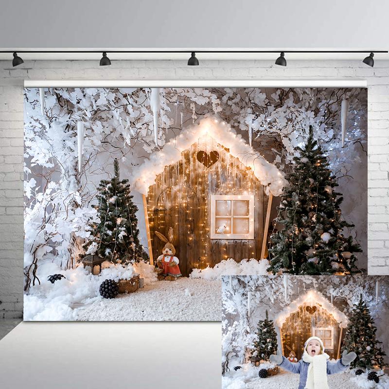 NeoBack Christmas Backdrop Wooden House Snowflake Winter Background Photography Christmas Holiday Party Decor Photo Backgrpund