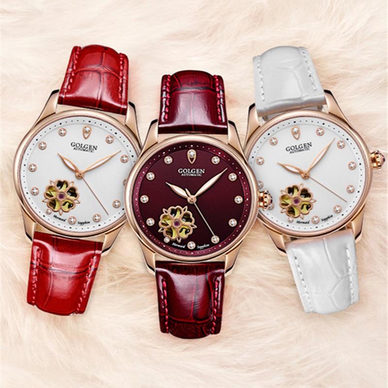 GOLGEN Women Automatic Mechanical Watch Luxury Skeleton Design Waterproof Elegant W Watches Female Wristwatch enlarge