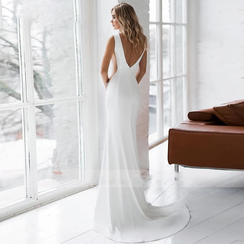 Luxury Matte Soft Satin Mermaid Wedding Dresses Deep V Neck Transparent Waist Sexy Gowns Backless Diamond