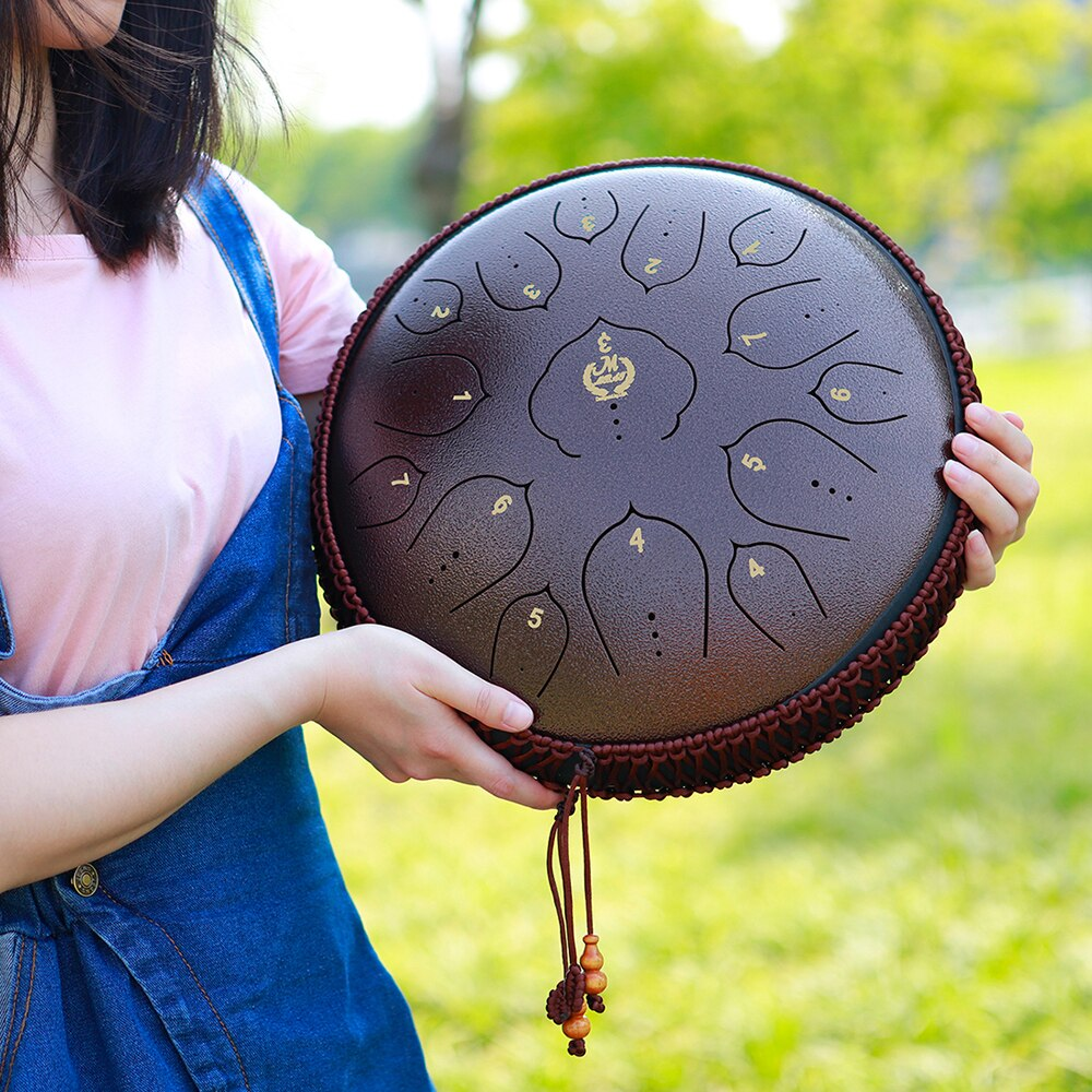 M MBAT 13 Inch Steel Tongue Drum 15 Tone Hand Pan Tank Drum Ethereal Drums Percussion Instrument Yoga Meditation Beginner Gift enlarge