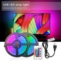 USB Светодиодные ленты светильник RGB 2835 50 см 1 м 2 м 3 м 4 м 5 м DC 5V Питание Подсветка светильник гибкая лента Декор Экран ТВ фон светильник Инж