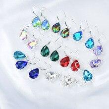 Rot Weiß Blau Kristall Wasser Tropfen Ohrringe Für Frauen Bunten Geometrische Schmuck Hochzeit Zubehör Boucle doreille