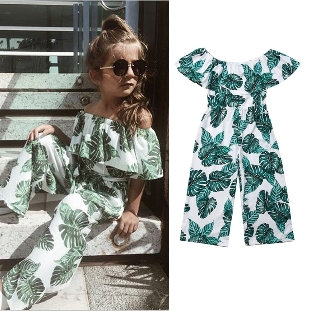 Fashion Girl Green Leaf Printing Romper Clothes Girls Summer One Pieces Outfits Children Clothing