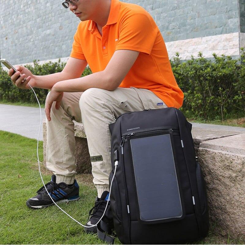 """2020 Panel Solar hombres tecnología mochila 17 pulgadas Anti-robo mochila para portátil de viaje de carga rápida mochila con USB 15 """"de la escuela mochila negro"""