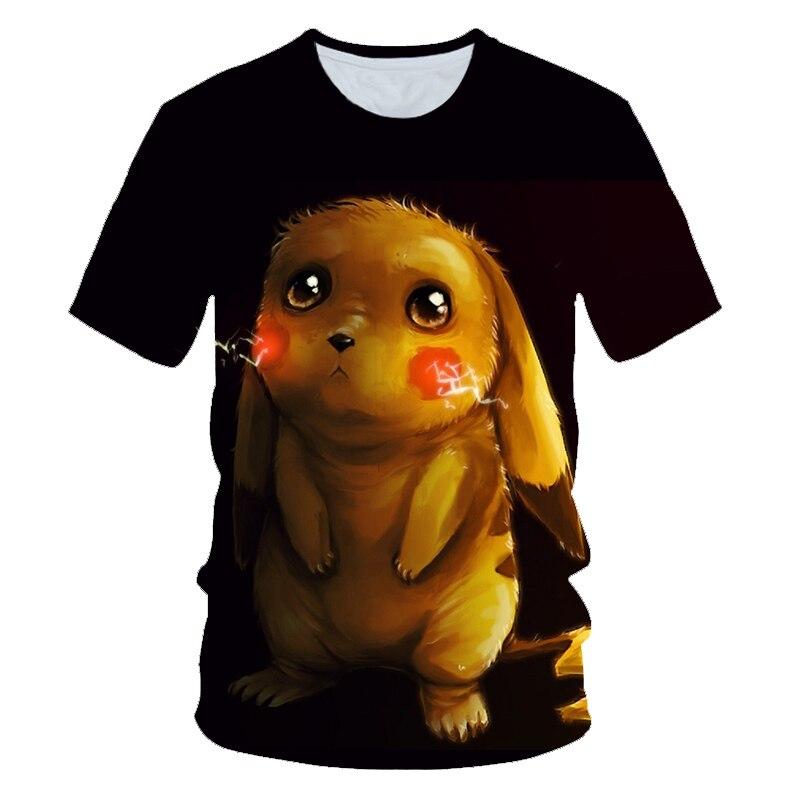 2019 New Cartoon kids T shirts Pokemon Detective Pikachu 3D Printed Children T-shirt Summer Short Sleeve T shirt Boys/girl Tops