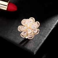 new flower light luxury ring female europe and america exaggerated personality index finger ring wild atmospheric opening ring