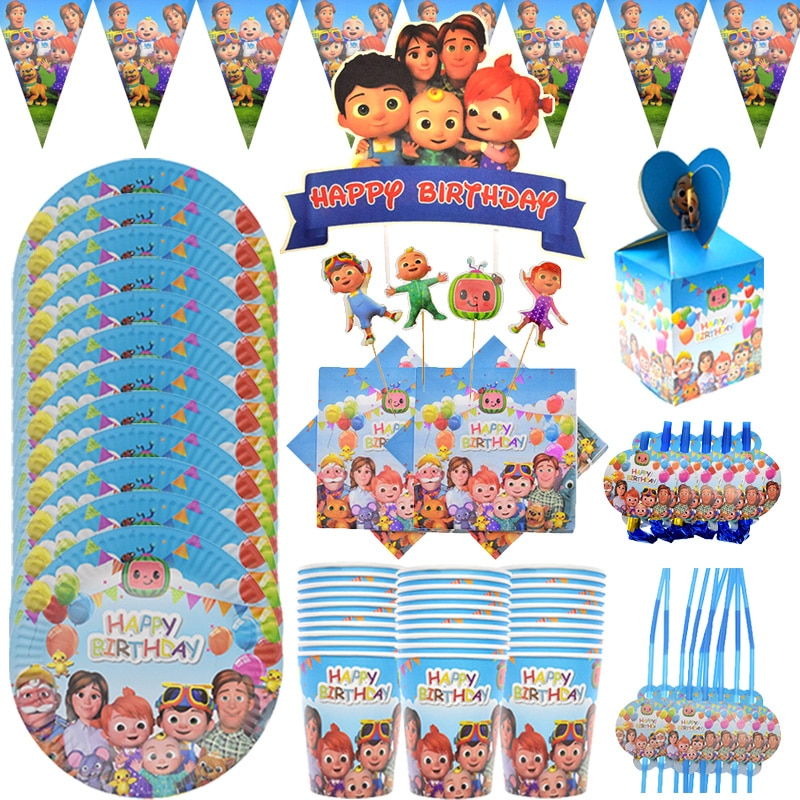 Cocomelon family JJ Birthday Party Cups Paper Plates Disposable Tableware Set Baby Shower Cake decor Supplies kids Favorite 72pcs mint green with gold confetti cake plates 7 premium quality paper plates wedding bridal shower engagement party supplies