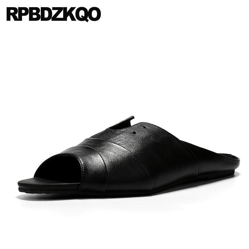 Zapatillas 2019 chanclas planas italianas de cuero genuino transpirable casual negro diseñador zapatos hombres de alta calidad slip on sandalias de verano