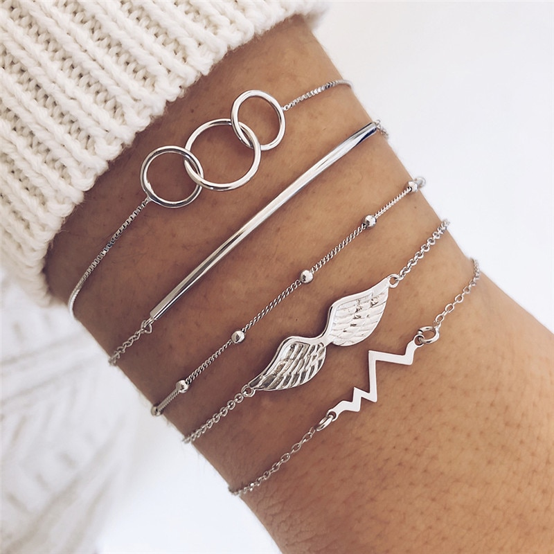 5 Pcs/set Bohemian Retro Circle Chain Heartbeat Angel Wings Beaded Bracelets Ladies Charm Beach Accessories Bangle Lover Gifts