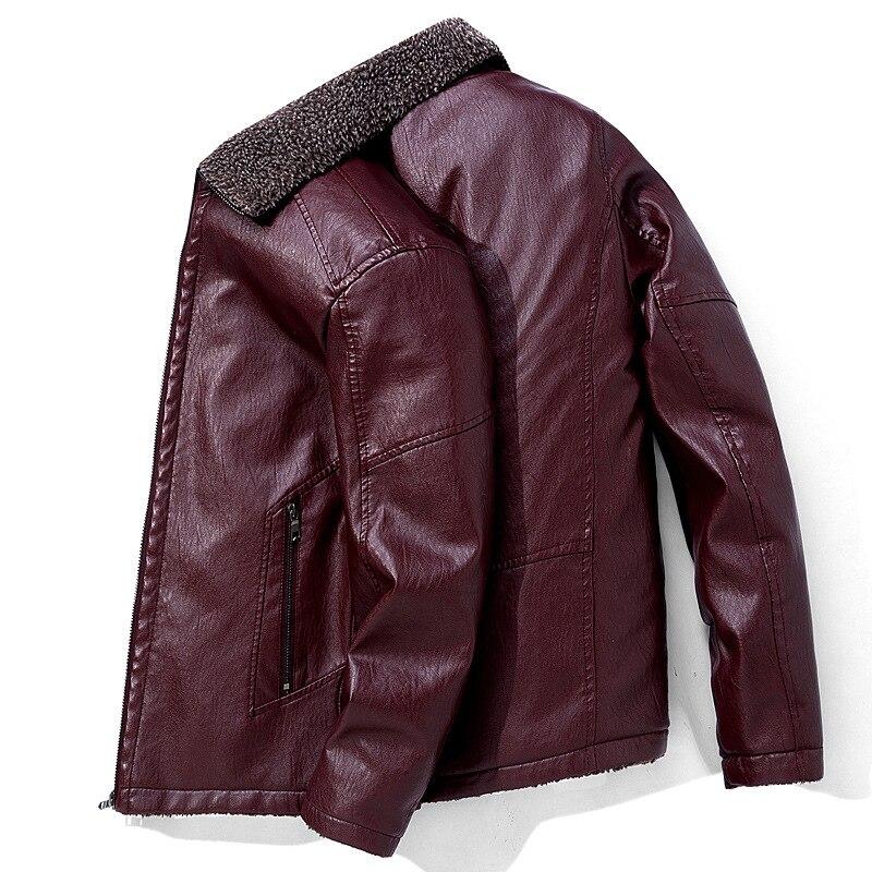 Chaqueta informal de cuero Pu para hombre Punk viento otoño invierno más chaqueta de bombardero de calidad de terciopelo de moda chaqueta de solapa masculina de gran tamaño