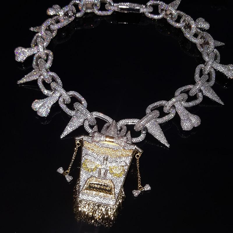 Famous Hip-hop Rapper Jewelry Trippie Redd Tikki Pendant Necklace Chain Iced Out Punk Rivet Choker Cubic Zirconia Men's Jewelry