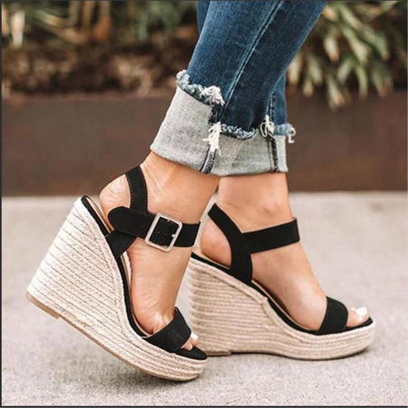 WENYUJH, zapatos de Mujer para Mujer, sandalias de gladiador con cuña para Mujer, sandalias de verano, Sandalias de tacón alto con plataforma atadas cruzadas